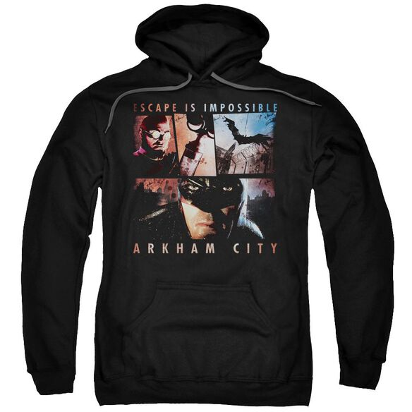 Arkham City Escape Is Impossible Adult Pull Over Hoodie Black