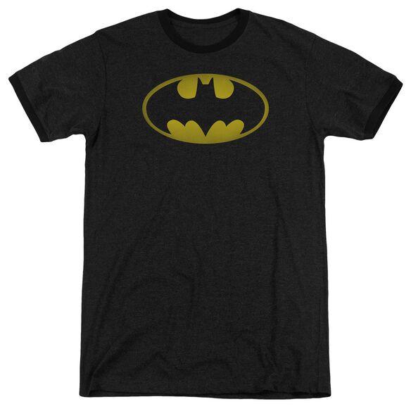 Batman Washed Bat Logo Adult Heather Ringer