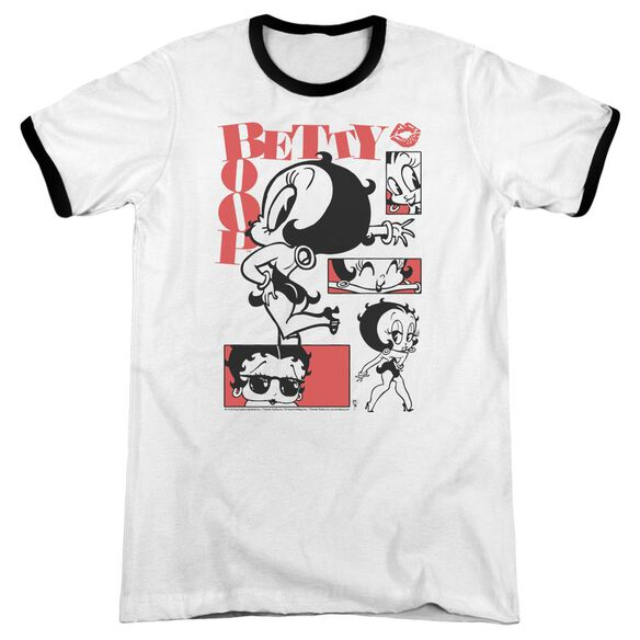 Betty Boop Stylin Snaps Adult Ringer White Black
