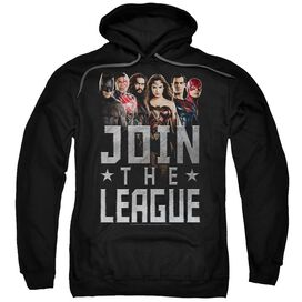 Justice League Movie Join The League Adult Pull Over Hoodie Black