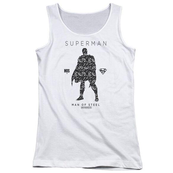 Superman Paisley Sihouette Juniors Tank Top