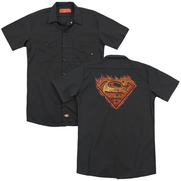 Superman Hot Metal(Back Print) Adult Work Shirt