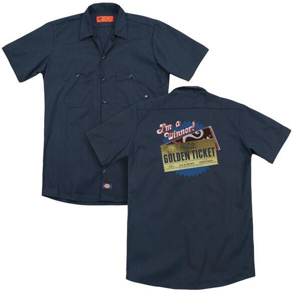 Chocolate Factory Golden Ticket (Back Print) Adult Work Shirt
