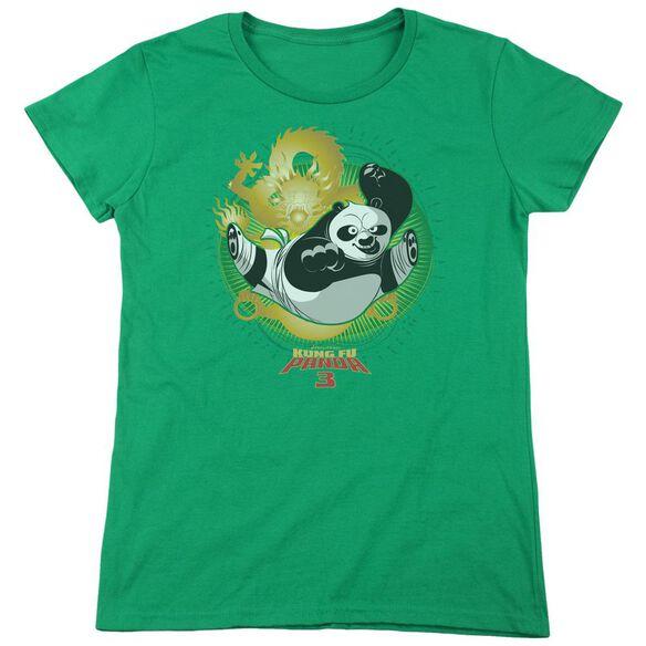 Kung Fu Panda Drago Po Short Sleeve Womens Tee Kelly T-Shirt