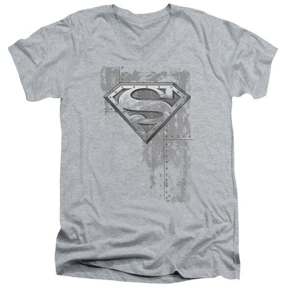 SUPERMAN RIVETED METAL - S/S ADULT V-NECK - ATHLETIC HEATHER T-Shirt