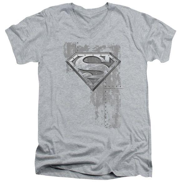 Superman Riveted Metal Short Sleeve Adult V Neck Athletic T-Shirt