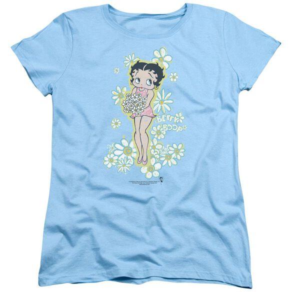 Betty Boop Flowers Short Sleeve Womens Tee Light T-Shirt