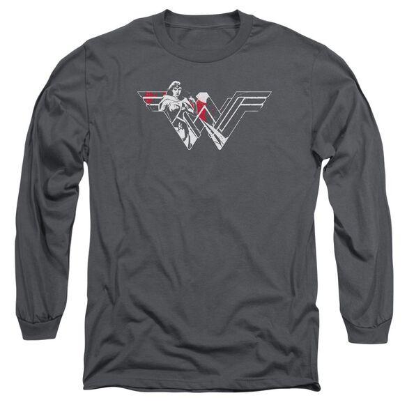 Batman V Superman Wonder Splatter Logo Long Sleeve Adult T-Shirt