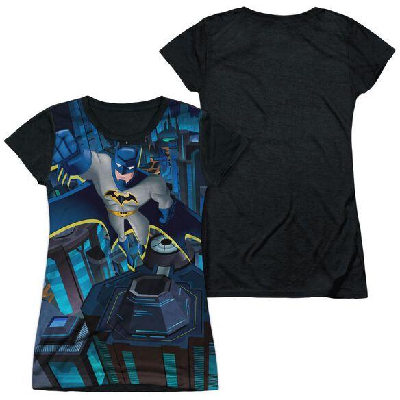 Batman Unlimited Cityscape Short Sleeve Junior Poly Black Back T-Shirt