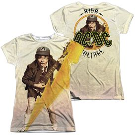 Acdc Higher Voltage (Front Back Print) Short Sleeve Junior Poly Crew T-Shirt