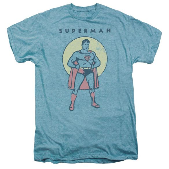 Dc Man In Circle Short Sleeve Adult Premium Tee Sky T-Shirt