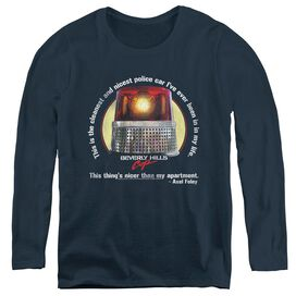 BEVERLY HILLS COP NICEST POLICE CAR - WOMENS LONG SLEEVE TEE - NAVY