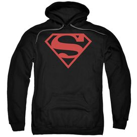 Superman Red On Shield Adult Pull Over Hoodie