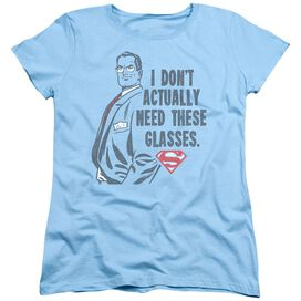 SUPERMAN DONT NEED GLASSES - S/S WOMENS TEE - LIGHT BLUE T-Shirt