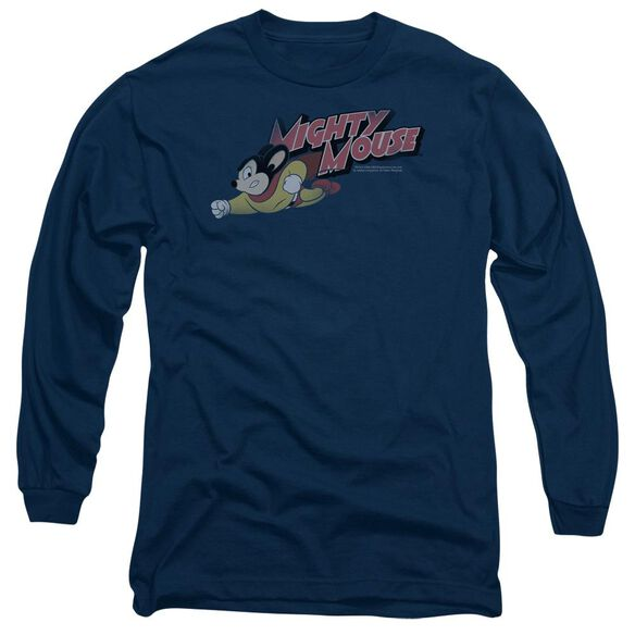 MIGHTY MOUSE MIGHTY RETRO - L/S ADULT 18/1 - NAVY T-Shirt