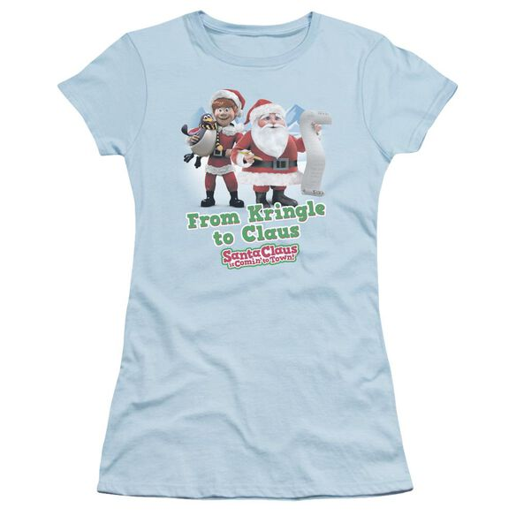 Santa Claus Is Comin To Town Kringle To Claus Short Sleeve Junior Sheer Light T-Shirt