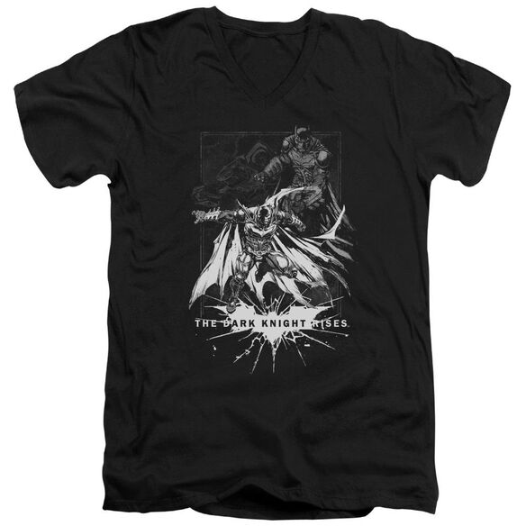Dark Knight Rises Rising Sketch Short Sleeve Adult V Neck T-Shirt