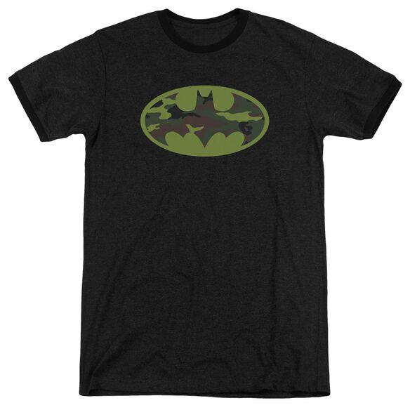 Batman Camo Logo Adult Heather Ringer