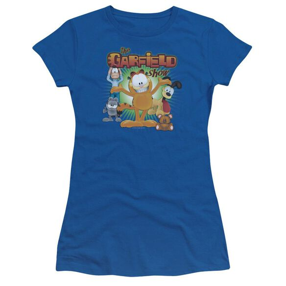 GARFIELD THE GARFIELD SHOW - S/S JUNIOR SHEER - ROYAL BLUE T-Shirt