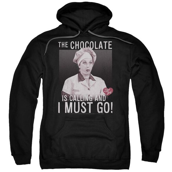 I Love Lucy Chocolate Calling Adult Pull Over Hoodie Black