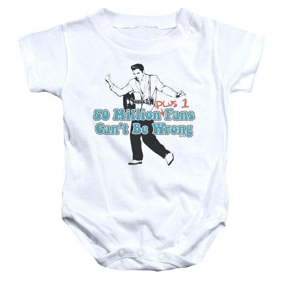 Elvis 50 Million Fans Plus 1 Infant Snapsuit White Xl