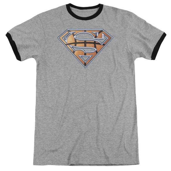 Superman Basketball Shield Adult Ringer Heather Black