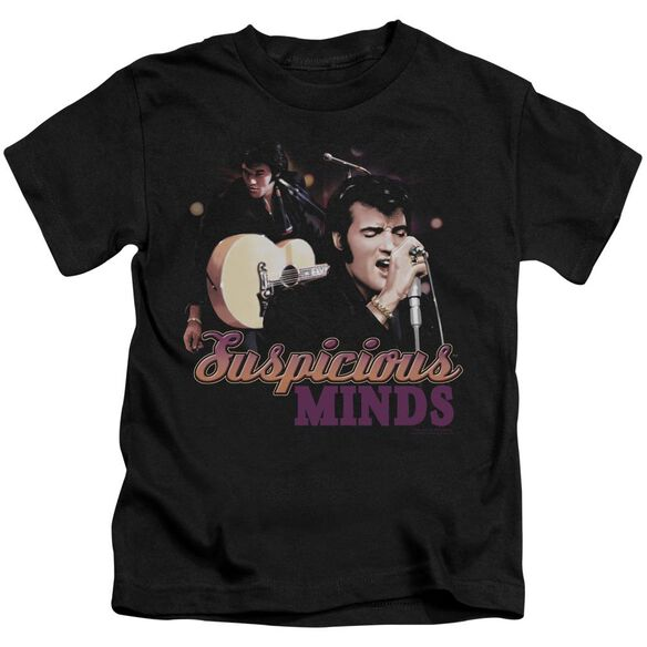 Elvis Suspicious Minds Short Sleeve Juvenile Black T-Shirt
