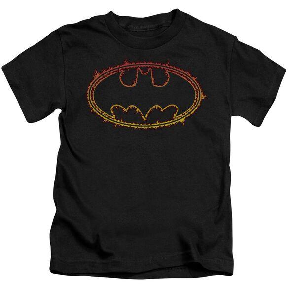 Batman Flame Outlined Logo Short Sleeve Juvenile Black Md T-Shirt
