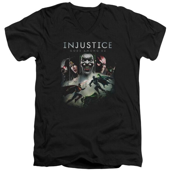 Injustice Gods Among Us Key Art Short Sleeve Adult V Neck T-Shirt