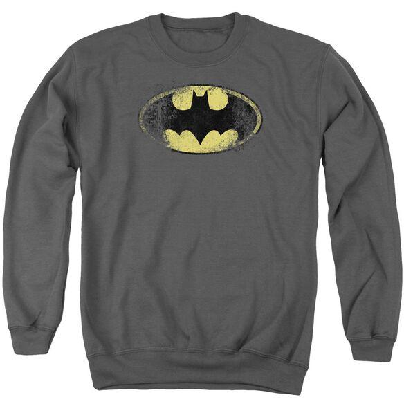 Batman Destroyed Logo - Adult Crewneck Sweatshirt - Charcoal