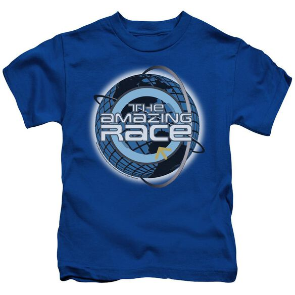 Amazing Race Around The Globe Short Sleeve Juvenile Royal Blue Md T-Shirt