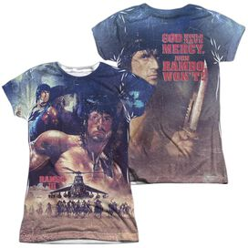 Rambo Iii No Mercy (Front Back Print) Short Sleeve Junior Poly Crew T-Shirt