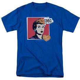 I Love Lucy I Love Worhol Omg Short Sleeve Adult Royal Blue T-Shirt