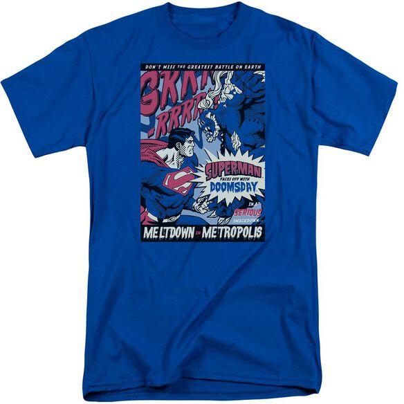 Superman Meltdown Short Sleeve Adult Tall Royal T-Shirt