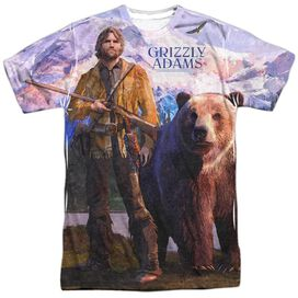 Grizzly Adams Man And Bear Short Sleeve Adult Poly Crew T-Shirt