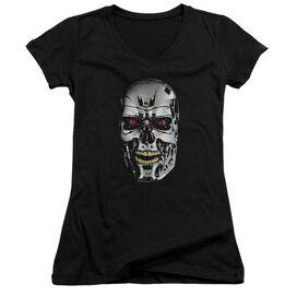 Terminator Skull Junior V Neck T-Shirt