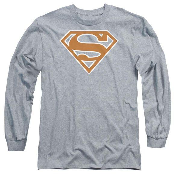 Superman Burnt Orange&White Shield Long Sleeve Adult Athletic T-Shirt