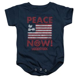 Woodstock Peace Now Infant Snapsuit Navy