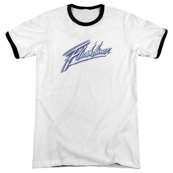 Flashdance Logo Adult Ringer White Black