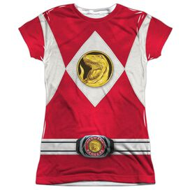 Power Rangers Red Ranger Emblem Short Sleeve Junior Poly Crew T-Shirt