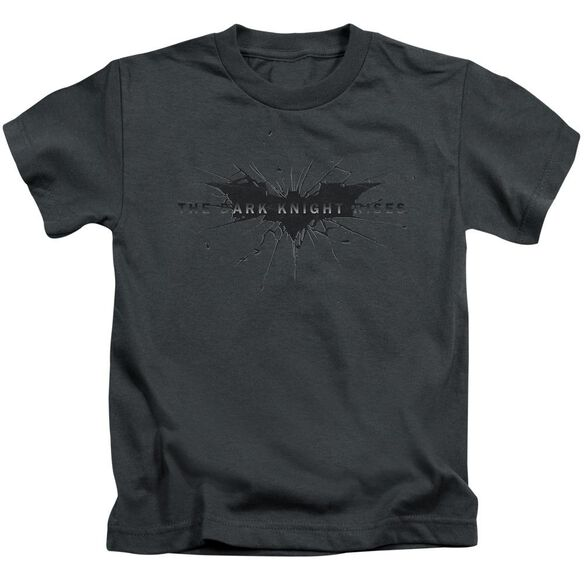 Dark Knight Rises Scratched Logo Short Sleeve Juvenile Charcoal Md T-Shirt