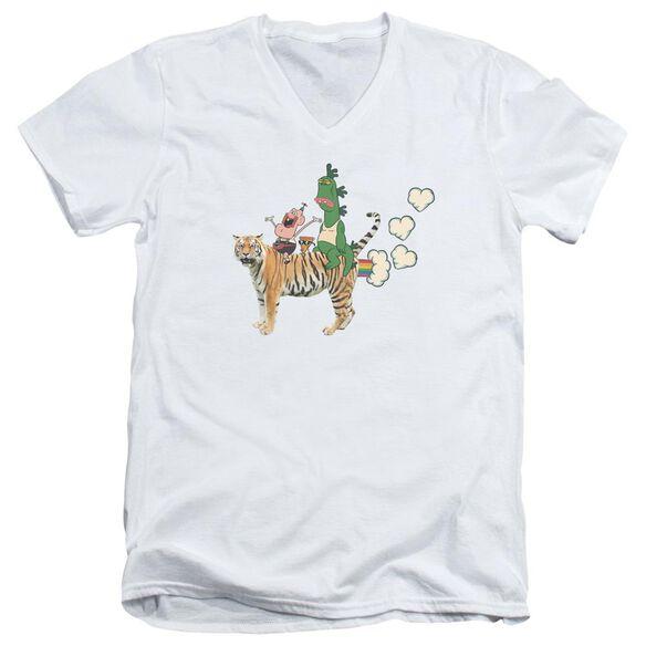 Uncle Grandpa Fart Hearts Short Sleeve Adult V Neck T-Shirt