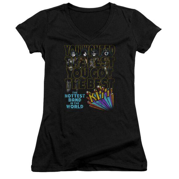 Kiss The Best Junior V Neck T-Shirt