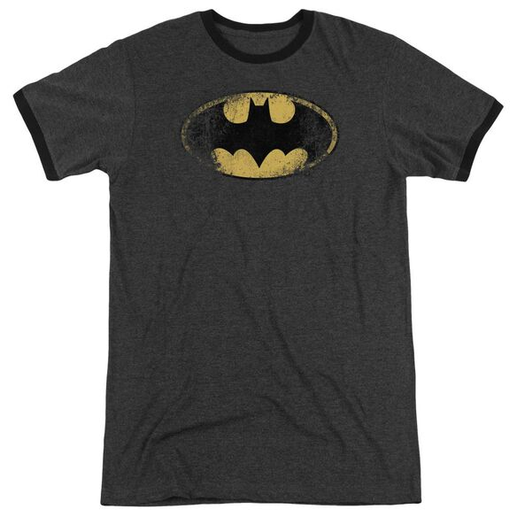 Batman Destroyed Logo Adult Heather Ringer Charcoal