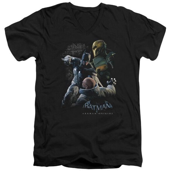 Batman Arkham Origins Punch Short Sleeve Adult V Neck T-Shirt