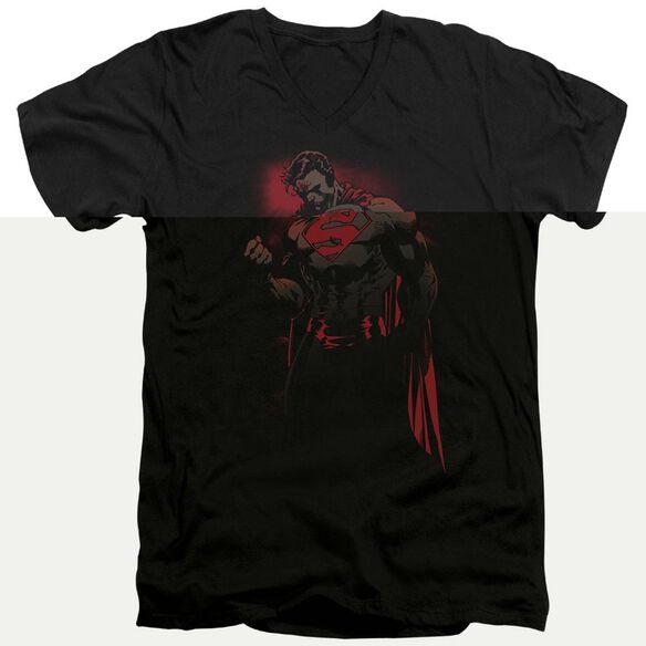 SUPERMAN RED SON - S/S ADULT V-NECK - BLACK T-Shirt