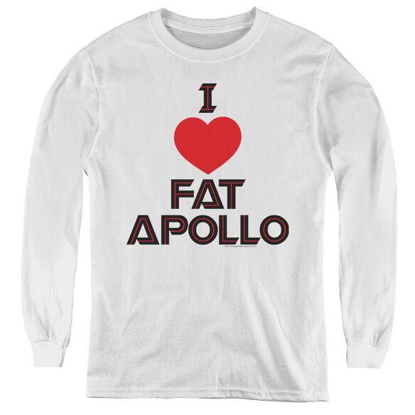 Bsg I Heart Fat Apollo - Youth Long Sleeve Tee - White