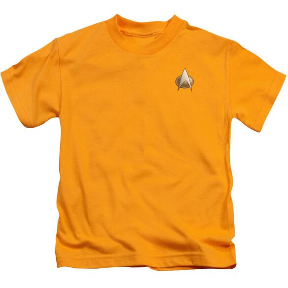 Star Trek Tng Engineering Emblem Short Sleeve Juvenile Gold T-Shirt