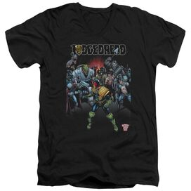 Judge Dredd Behind You Short Sleeve Adult V Neck T-Shirt