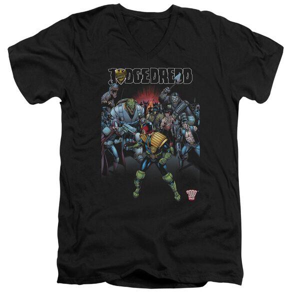 Judge Dredd Behind You Short Sleeve Adult V Neck T-Shirt